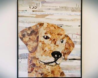 Golden retreiver art print, dog art, recycled magazine art print