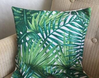 Tropical garden leaves Summer cushion
