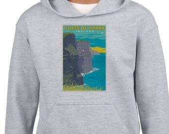 Cliffs of Moher Ireland hoodie, Vintage Irish Tourism Poster hoodie