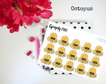 Octopus Planner Stickers, octupus stickers, planner, decorative stickers