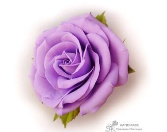 Large lavender rose hair flower Rose hair clip Violet flower hair Spring flower Romantic hair piece boho  Gift for her Bridesmaid hair clip