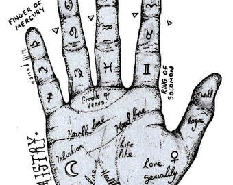 PRINT ONLY Palmistry hand illustration A4 Curio Oddity
