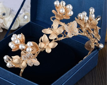 Handmade pearl and gold flowers rhinestone butterfly bridal tiara