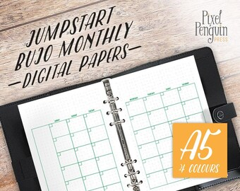 A5 Planner Insert Page, Undated Planner Printable, A5 Monthly Planner Page, Bullet Journal Template, Filofax Planner Insert, Kikki K Refill