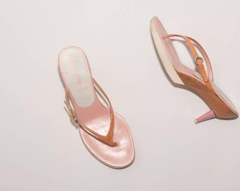 MIU MIU \ Vintage Shoes \ Wood and EVA Thong Heel Sandals