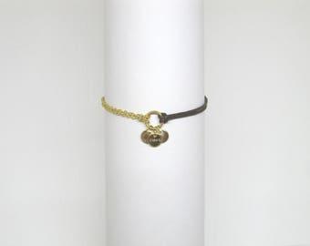 "Bracelet ""Chloe"" gold plated & brown cord"