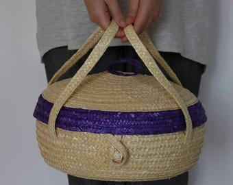 Cake Carrier, handmade with straw, kitchen decor, gift for her.
