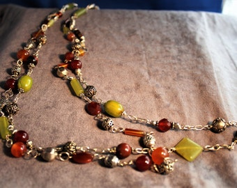 Gemstone and Silver Double Strand Necklace
