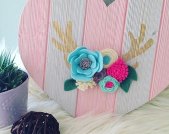 Wooden Heart with felt flowers and antlers, Kids' Room Decor, Playroom Decor