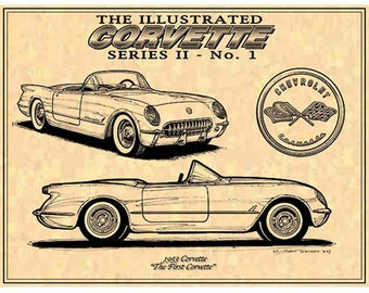 1953 The First Corvette,1953 C1 Corvette Print,C1 Corvette,Man Cave Decor,Teeters,Nostalgic Corvette,53 Corvette Print,Americas Sports Car