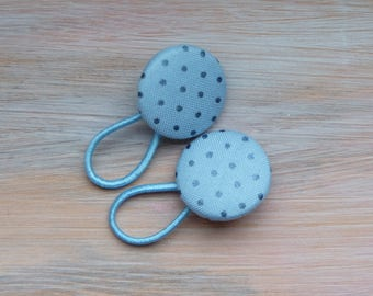 Hair elastics sky blue fabric covered buttons hair accessories polka dot ponytail holder girls gift cute things cotton