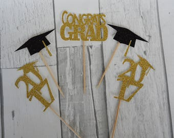 Graduation Cupcake Toppers, Graduation Party Decor, Graduation 2017, Congrats Grad Topper, Grad 2017, Class of 2017, Graduation Toppers