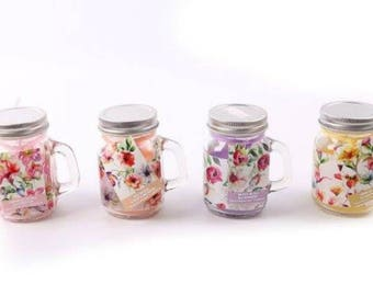 Vintage Floral Mini Mason Jar Votive Candle - 4 scents