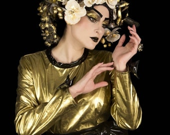 balance, dress in gold and black, pvc single-50% retro fetish pinup model