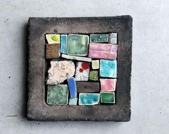 Ceramic painting 10 x 10, patchwork, mosaics, raku, stoneware, earthenware