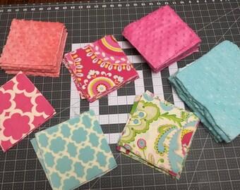 Fabric Scraps, KUMARI GARDEN fabric scraps, Teja in Pink fabric, Tarika in Blue, Marala in Pink, Jeevan in Pink, floral fabric, destash
