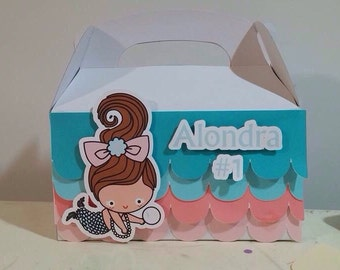 Baby Mermaid /custom gable box/for party favors/