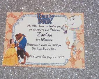 Beauty and the beast  Birthday invitations