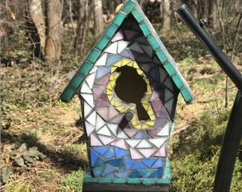 Stained Glass Mosaic Birdhouse with Bird Opening