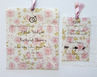 vintage floral themed wedding stationery wedding invitations