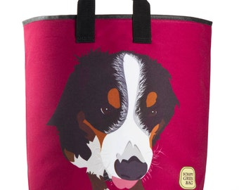 Reuseable Market Bag - Made from Recycled Materials - Eco-Friendly - Washable - Grocery Bag - Berenese Mountain Dog - Burgundy