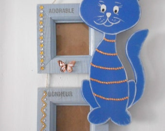 """2 wooden picture frames """"cat"""" blue and orange"""