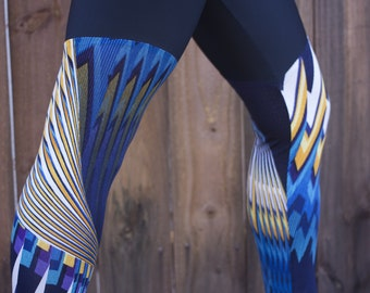 Small Blues and Yellows Pattern Panel Leggings, Blues and Yellows Pattern Panel Tights, Blues and Yellows Pattern Panel Yoga Pants