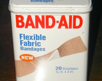 Band-Aid flexible fabric bandages vintage original metal tin can container medical collectible
