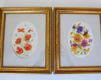 Floral Watercolours signed J Percival/Floral paintings/Botanical painting.Pansies,Poppies and Daisies.