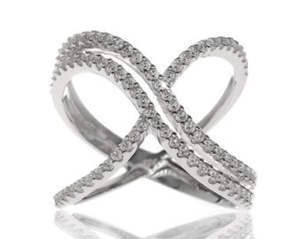 Radiance Crossover Ring in Sterling Silver