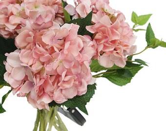 "Luxury Silk Hydrangea Stem in Light Pink 18"" Tall"