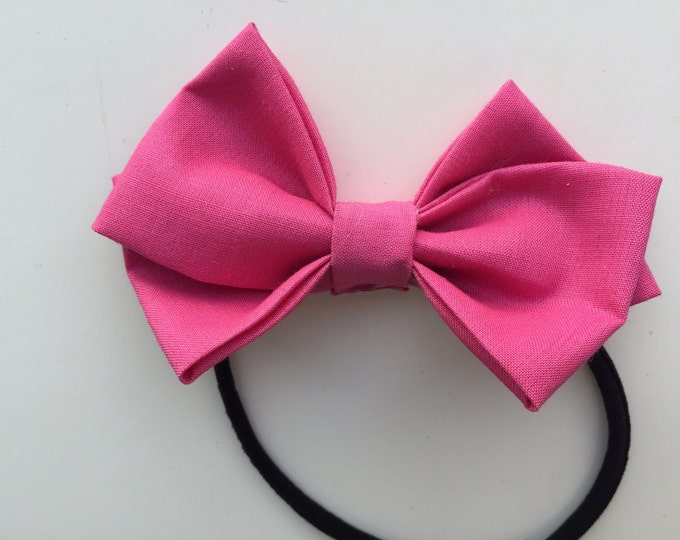Berry Pink fabric hair bow or bow tie
