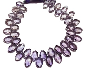 """AAA Grade AMETHYST Faceted Marquise shape Briolette beads, Side Drilled, Size 7x11 mm mm, Half 4""""/Full 8"""" Strand, Faceted Marquise Beads"""