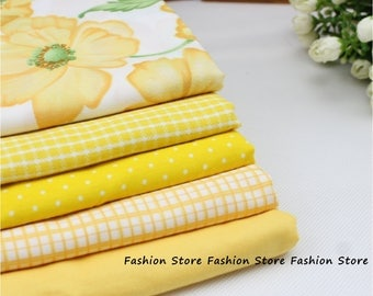 Twill Plain 5 pcs Yellow 100% Cotton Fabric Quilting For Sewing Patchwork Tilda Doll Kids Bedding Baby Cloth Fabric 50*40cm