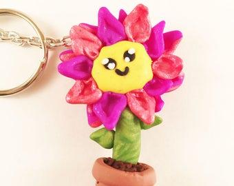 Flower in pot Keychain