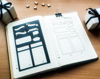 Bullet Journal Stencil, ECLP Planner Stencil, Stencil for Erin Condren Life Planner - fits ECLP, A5 journal & Midori Regular