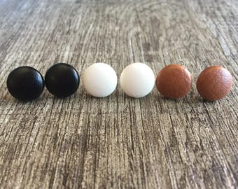Leather Combo Fabric Earrings 3 pairs