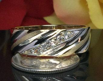 14k Solid Gold Men Cubic Zirconia Ring - Men Gold Wedding Band - Men gold Ring - Mens gold Pinky Ring