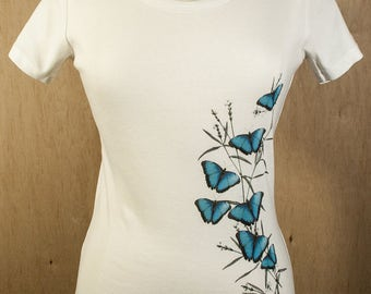 Women's Short Sleeve Scoop Neck T-Shirt Organic Cotton Australian Blue Mountain Butterflies Print