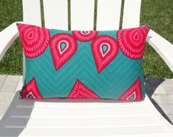 Decorative Throw Pillow Covers / Pink & Aqua Pillow Cover / Chevron Stripe Pillows / Modern African Design Pillow Cover / Home Accessories