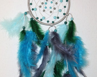 Dream catcher/Dreamcatcher small grey - light blue - turquoise - dark. Green
