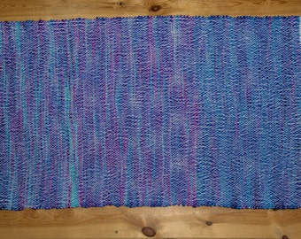 "Handwoven rug ""Blue and White"" Woven by seller"