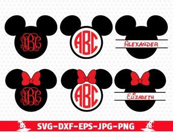 Mickey Svg Minnie Ears Monogram Frame, Svg Dxf Png files designs Minnie Bow Disney Monogram, svg dxf for Silhouette Cricut