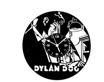 Vinyl disc clock on DYLAN DOG handmade