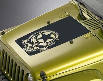 Jeep Wrangler Blackout Hood Decal Sticker - Army Star Tribal Skull Design