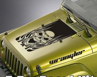 Jeep Wrangler Blackout Hood Decal 3 Piece Sticker Kit - Skull & Flames Design