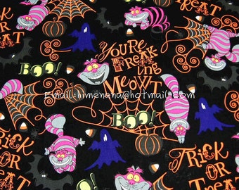 al014 - 1 Yard SDLP Cotton Woven Fabric - Disney Cartoon Characters, The Cheshire Cat and Halloween, Alice in Wonderland - Black (W140)