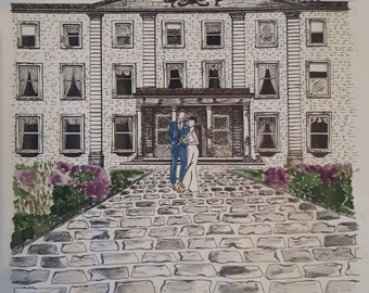 Wedding Day Watercolour & Ink Custom Made Portrait A3