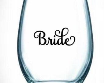 wedding/set/wine/glass/stemless/bride/maid/mother/groom/brides/honor/