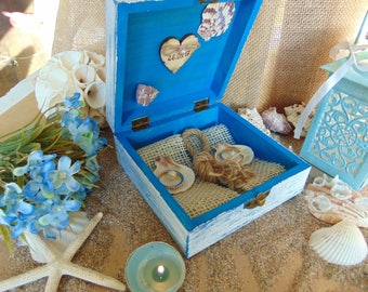 Nautical Ring Box, Starfish Box Bearer,Beach Wedding RIng Box,Beach Ring Bearer Box, Rustic Beach Wedding,Personalized Ring Box,Beach Decor